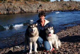 Karina, Howler and Minnie enjoying the waves on the shore of Lake Superior, 2009